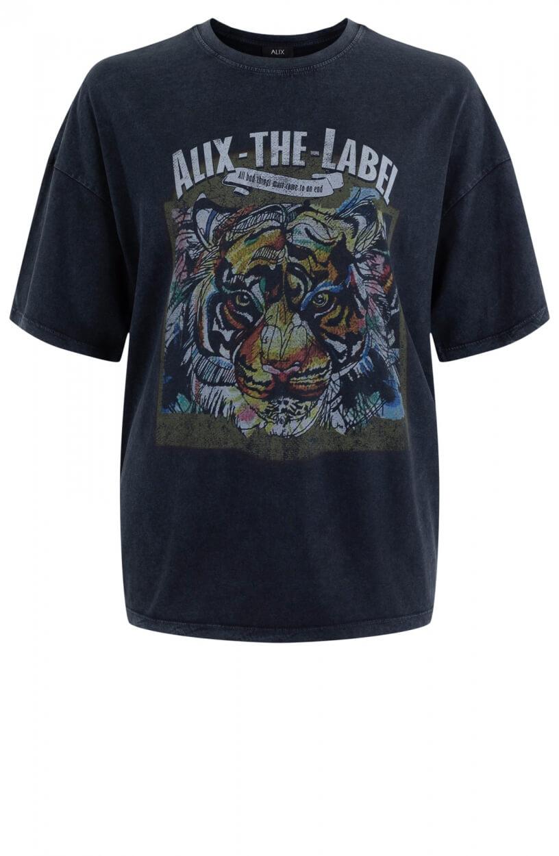 Alix The Label Dames Shirt met artwork Zwart