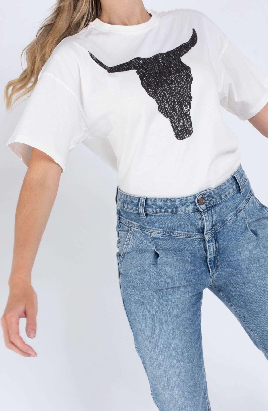 Alix The Label Dames Oversized shirt met print Wit