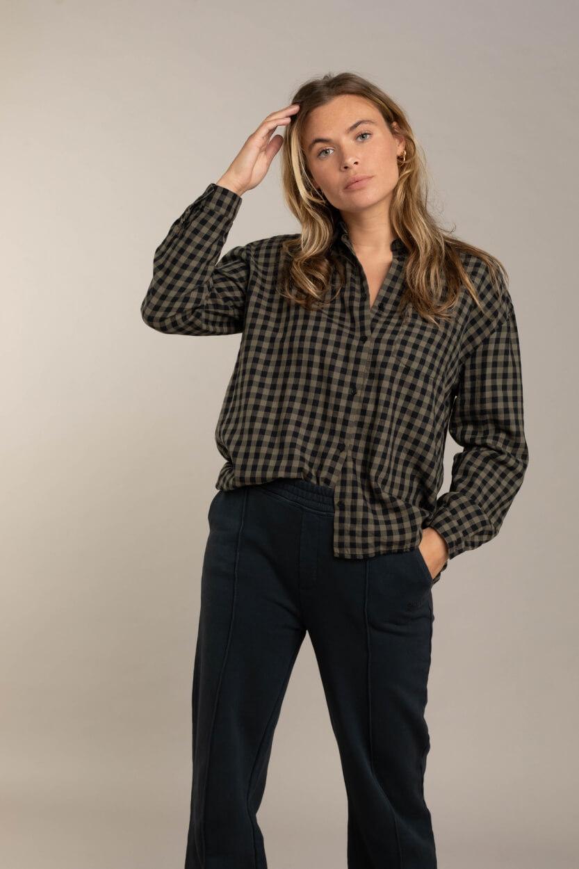 Anna Blue Dames Geruite blouse Groen