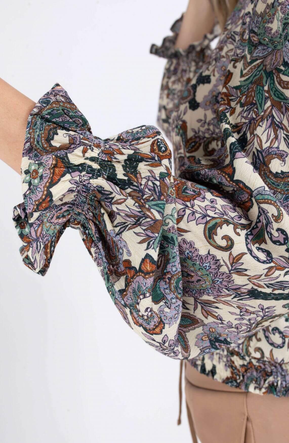 Anna Dames Blouse met paisley print Paars