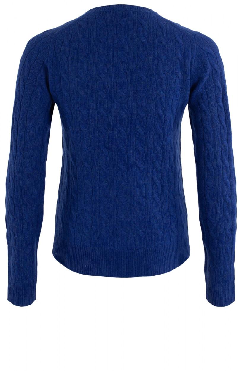 Anna Blue Dames Pullover met kabelbrei Blauw
