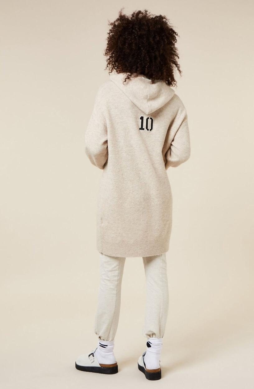 10 Days Dames Lange gebreide hoodie Bruin