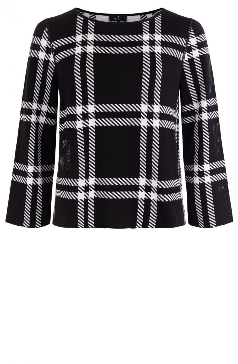 Monari Dames Pullover met ruit Zwart