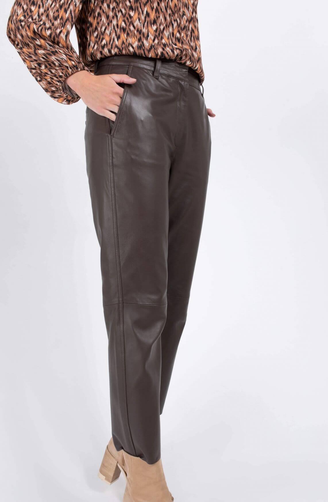 Co Couture Dames Leren broek Bruin
