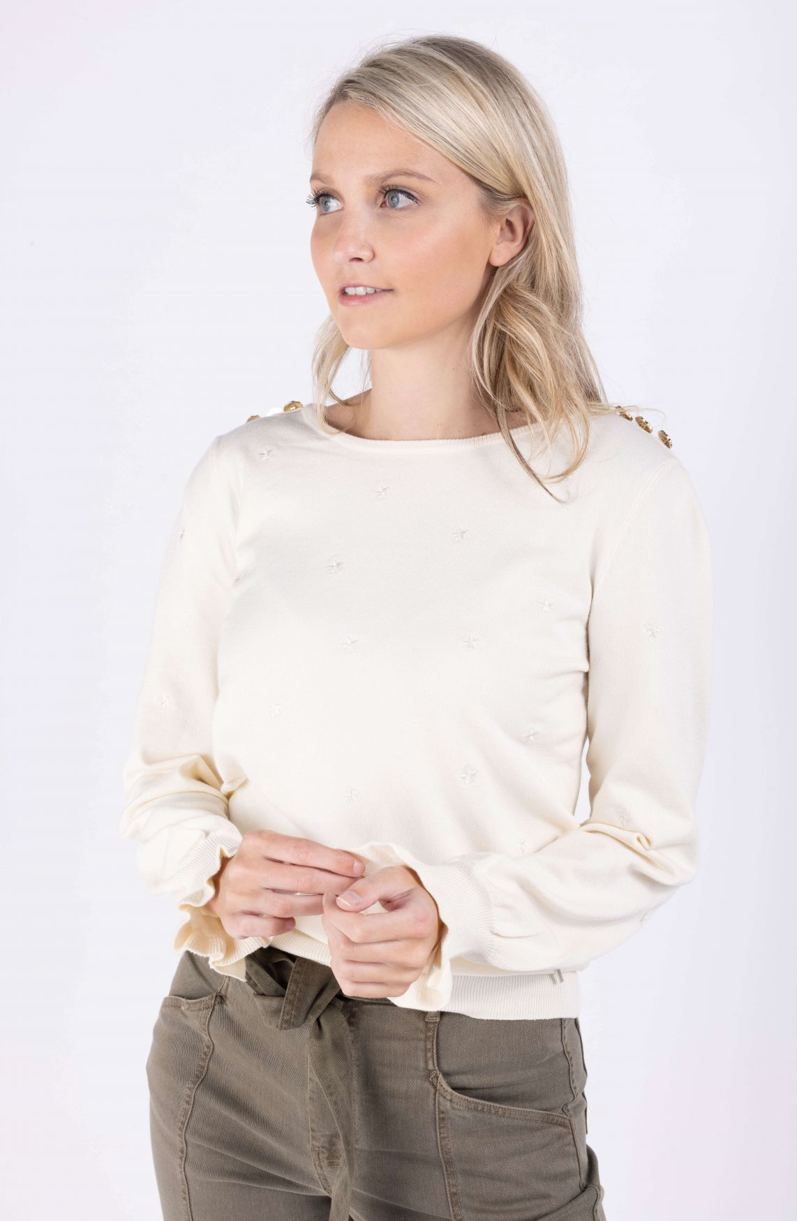 Anna Dames Pullover met knopen Wit