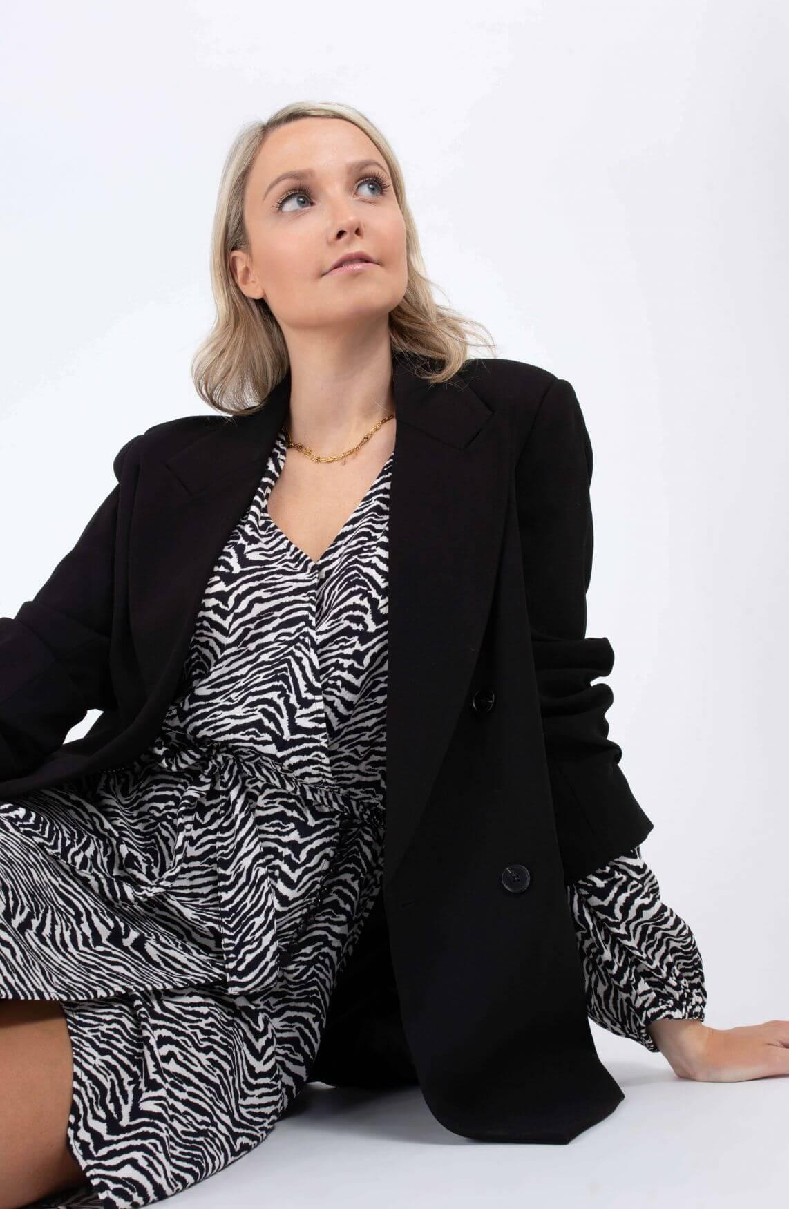 Anna Dames Jurk met animalprint Wit