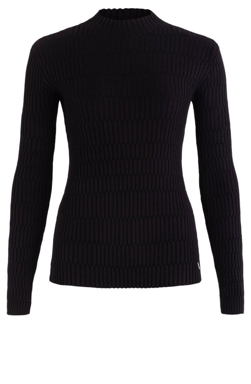 Anna Dames Gesmokte trui Zwart
