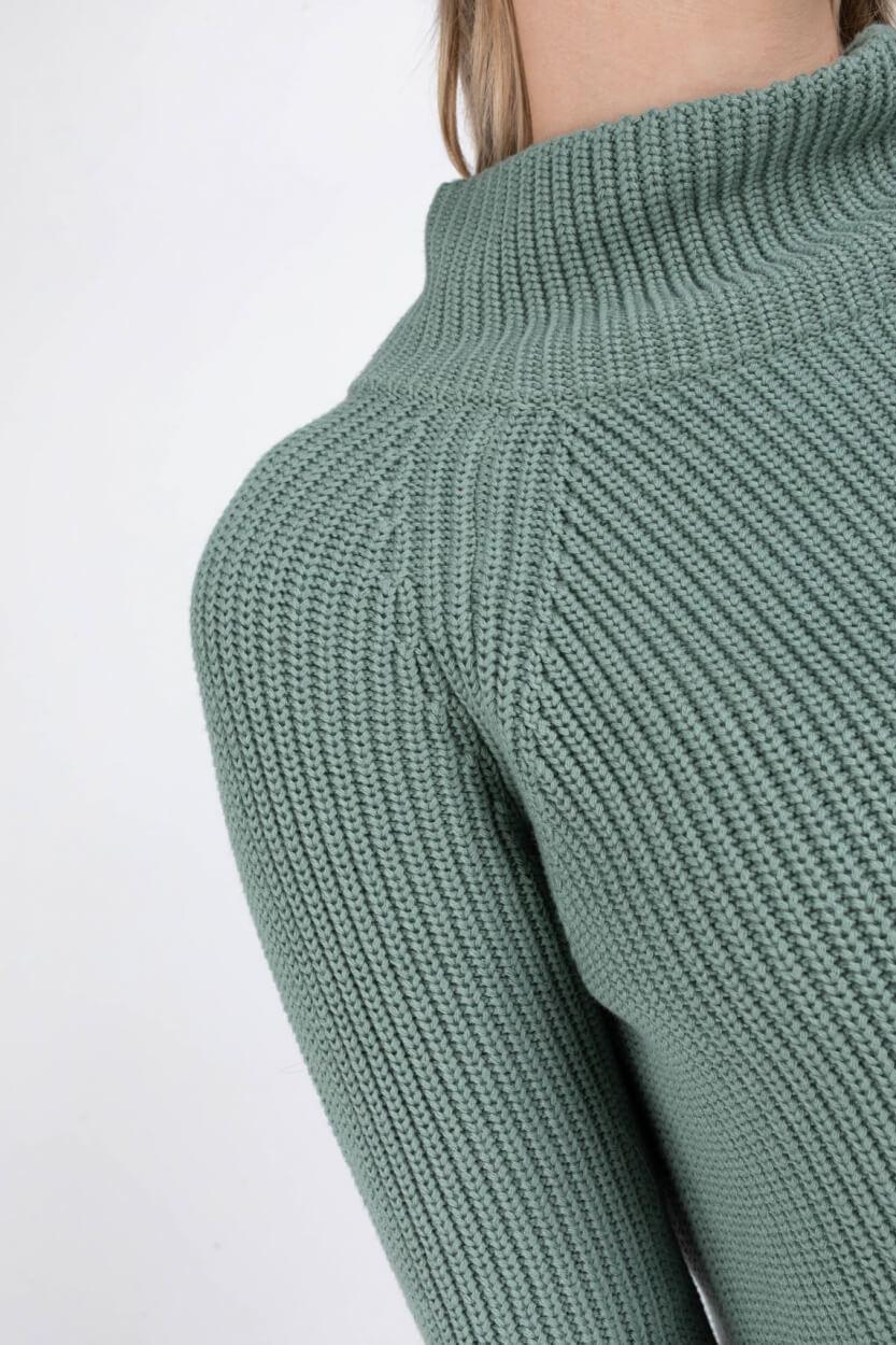 Anna Dames Gebreide trui met hoge kraag Groen