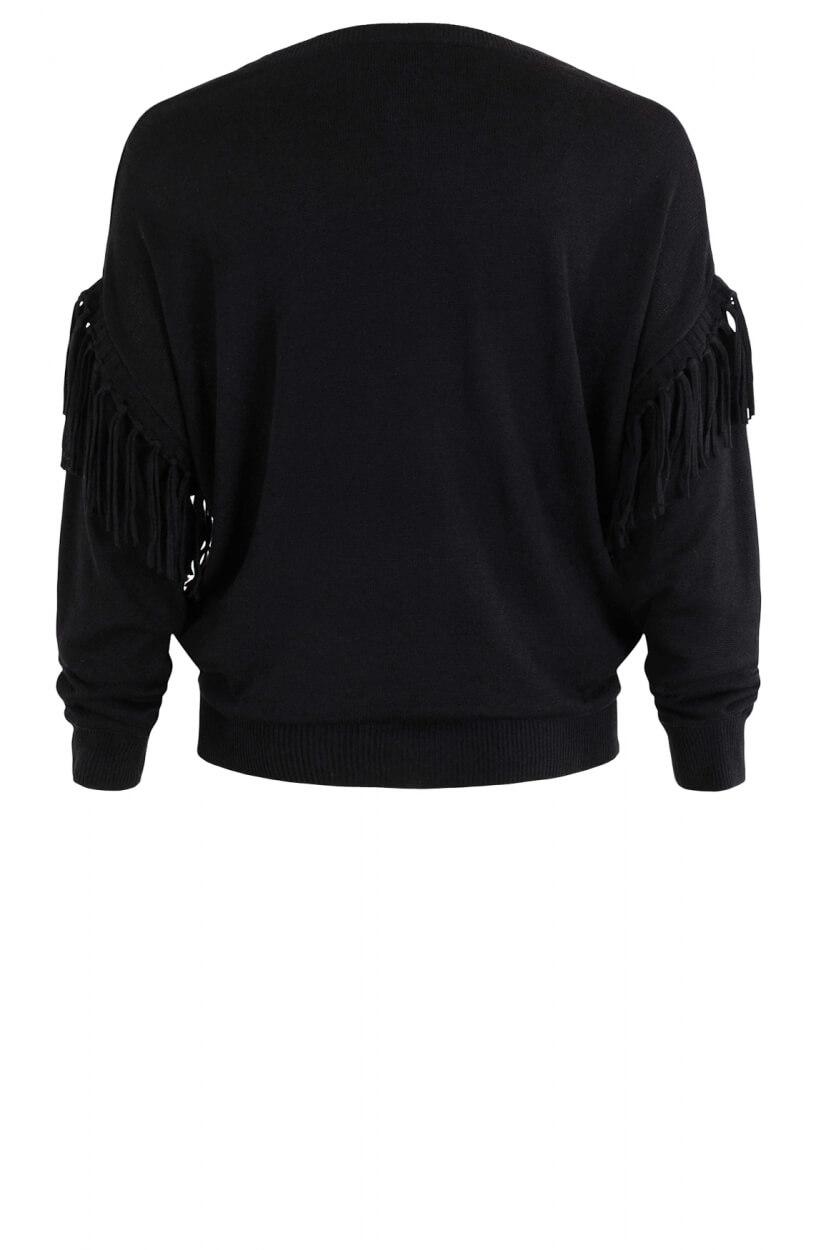 Anna Dames Pullover met franjes Zwart
