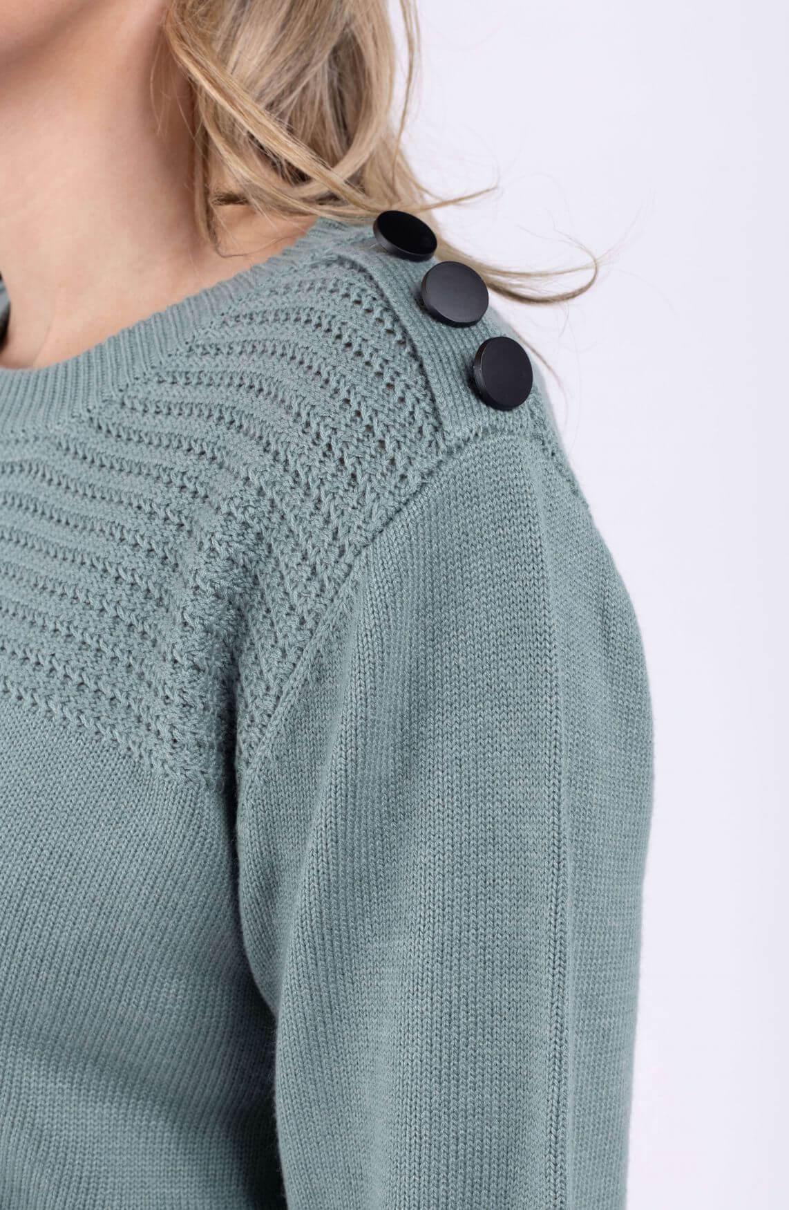 Anna Dames Pullover met sierknopen Groen