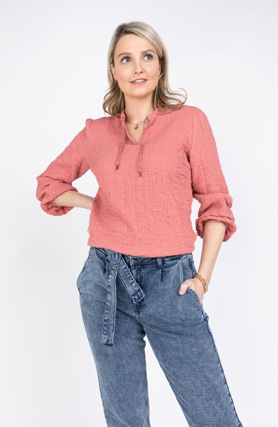 Anna Dames Seersucker blouse Roze