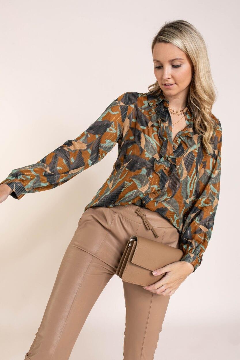 Nümph Dames Nucalixta blouse Bruin