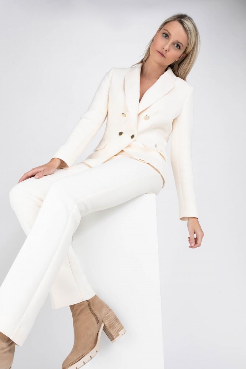 Anna Dames Straight-fit pantalon Wit