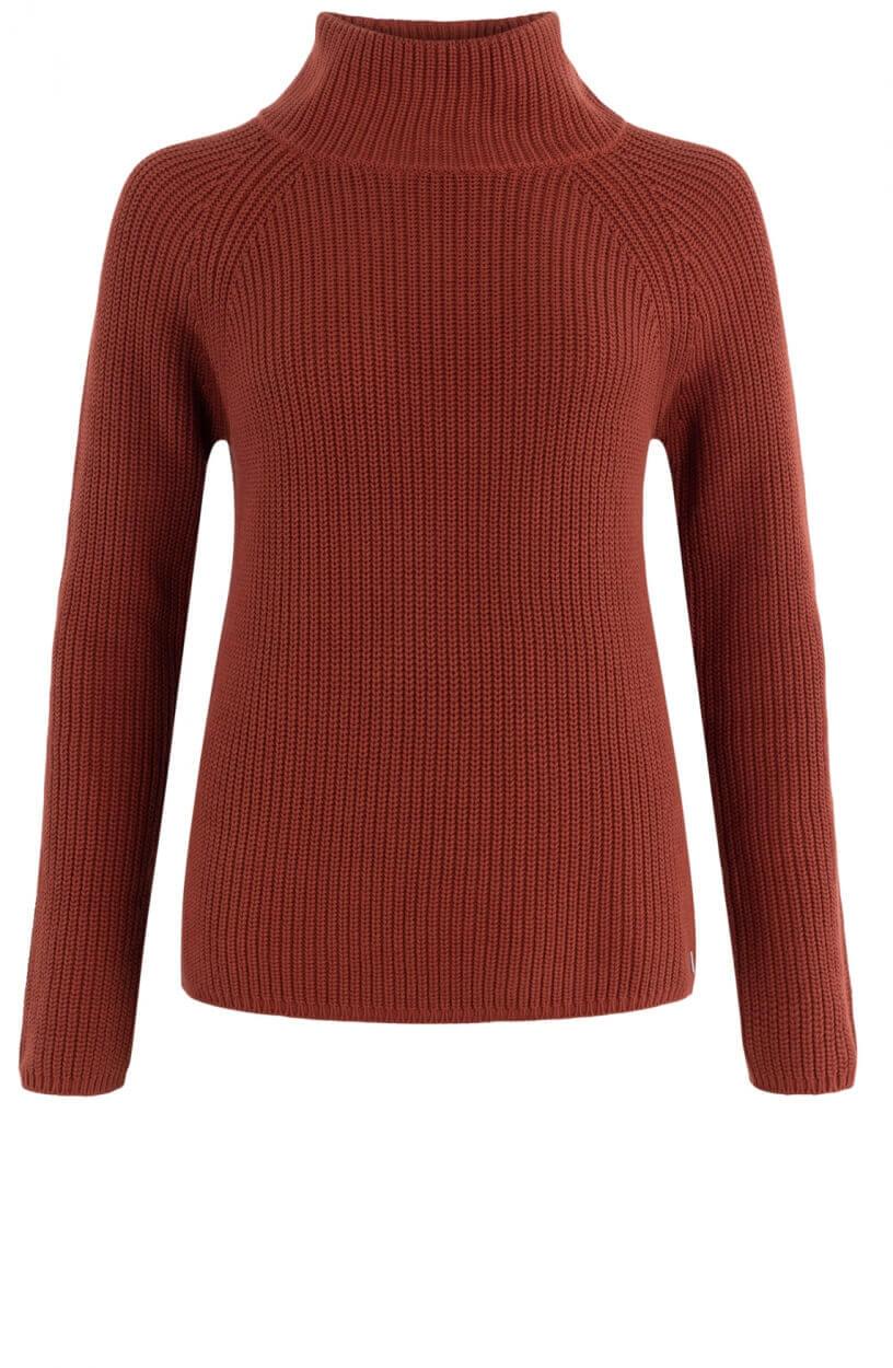 Anna Dames Gebreide trui met hoge kraag Oranje