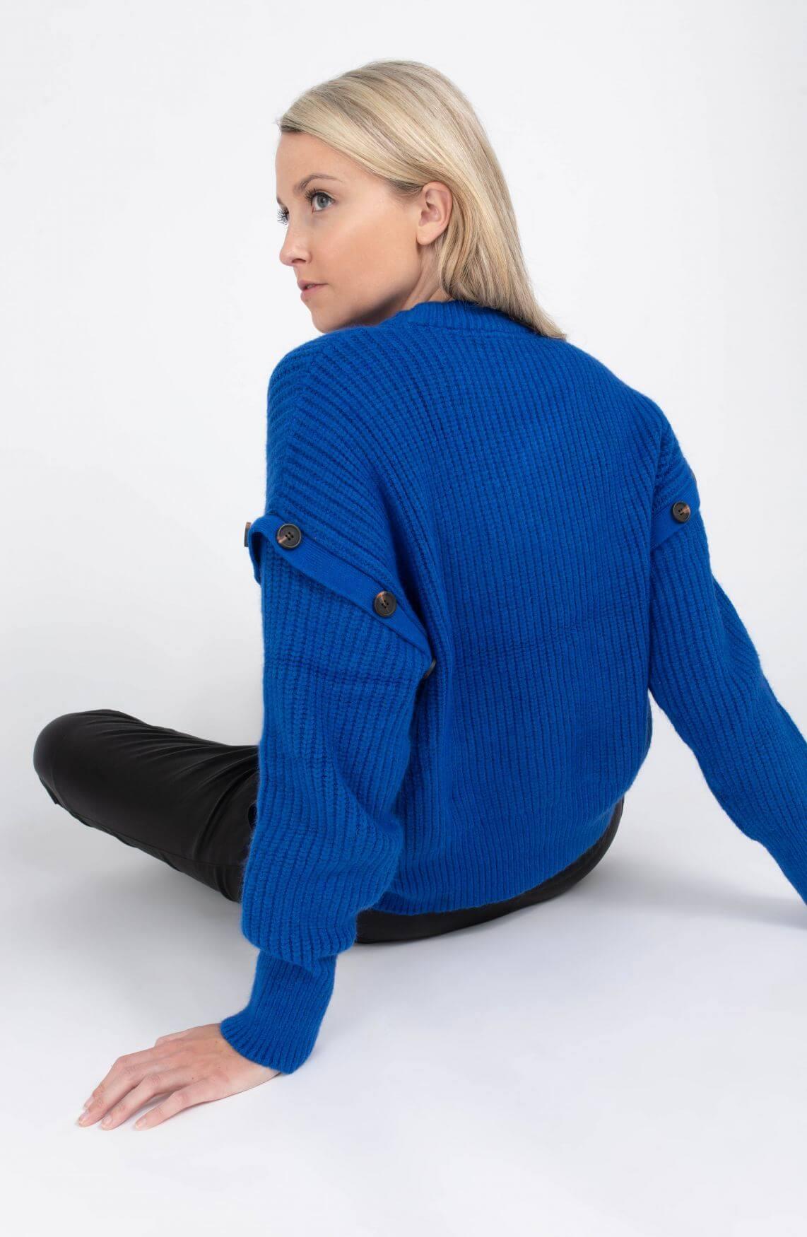 Co Couture Dames Rowie button trui Blauw