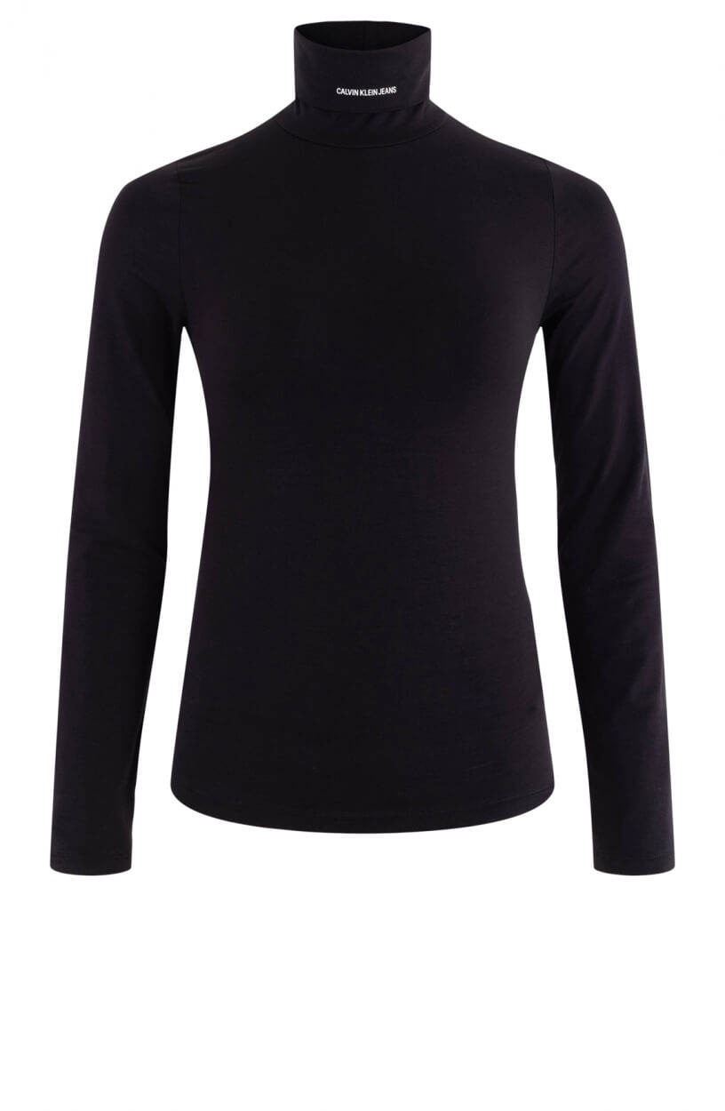 Calvin Klein Dames Shirt met hoge kraag Zwart