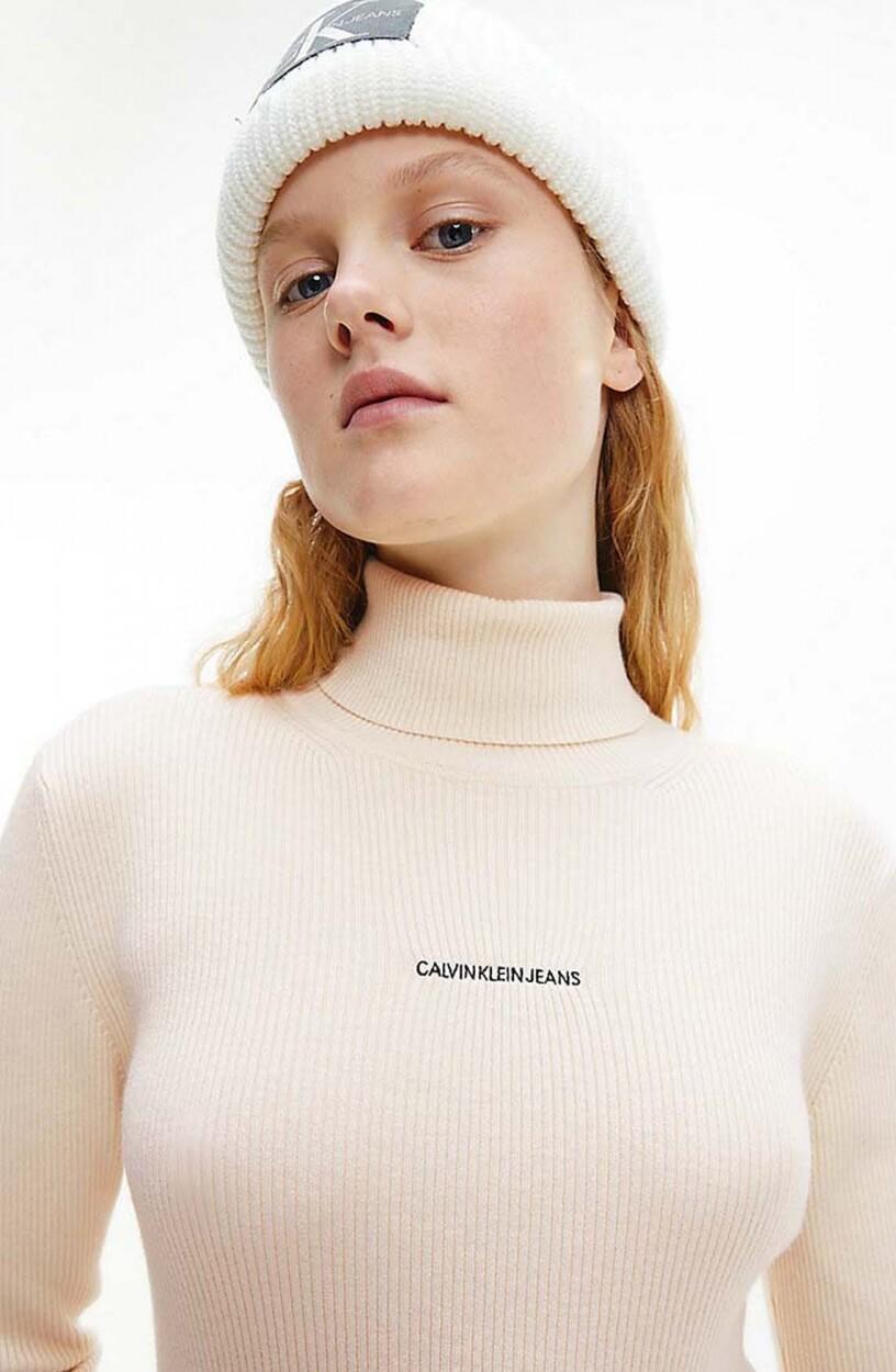 Calvin Klein Dames Trui met hoge kraag Ecru