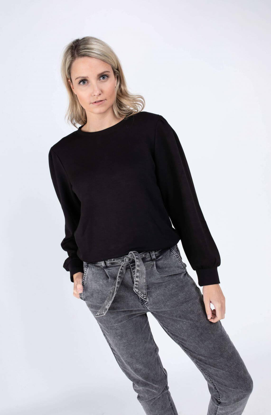 Moss Copenhagen Dames Ima puff sweater Zwart