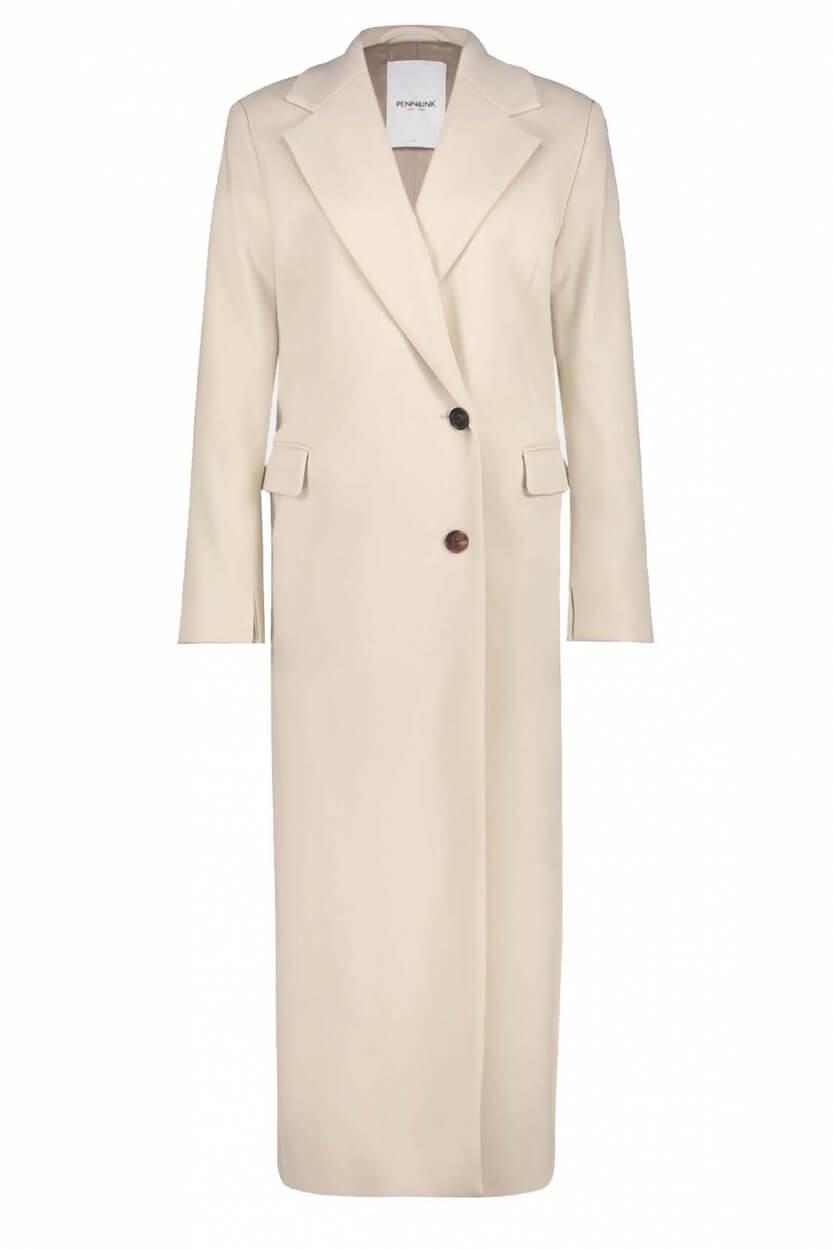 Penn & Ink Dames Enkellange mantel Ecru