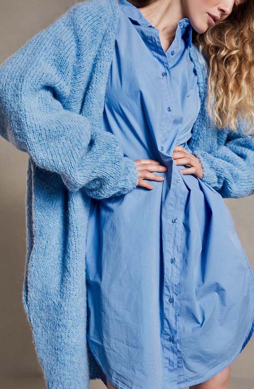 10 Days Dames Poplin jurk Blauw