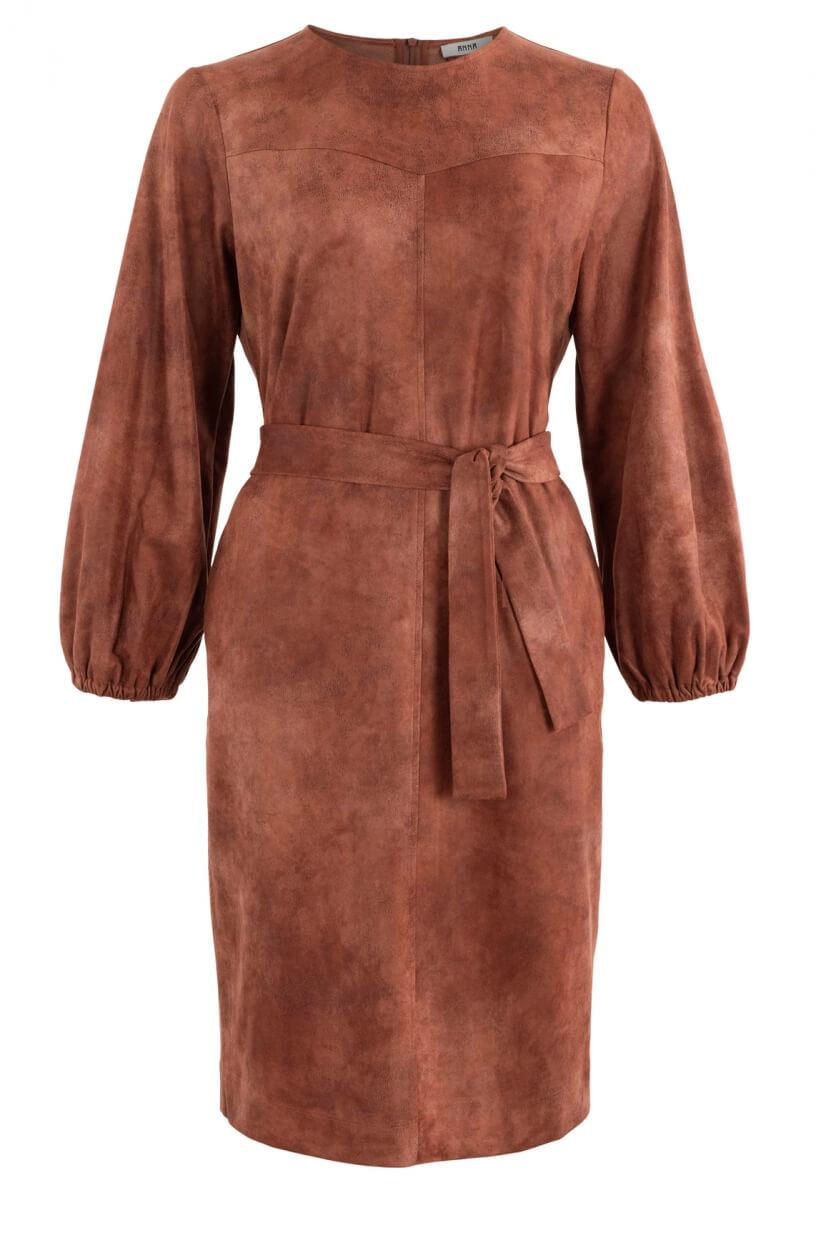 Anna Dames Imitatieleren jurk Bruin