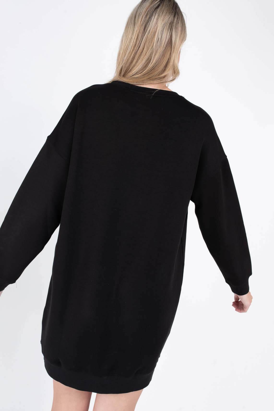 Moss Copenhagen Dames Ima sweatjurk Zwart