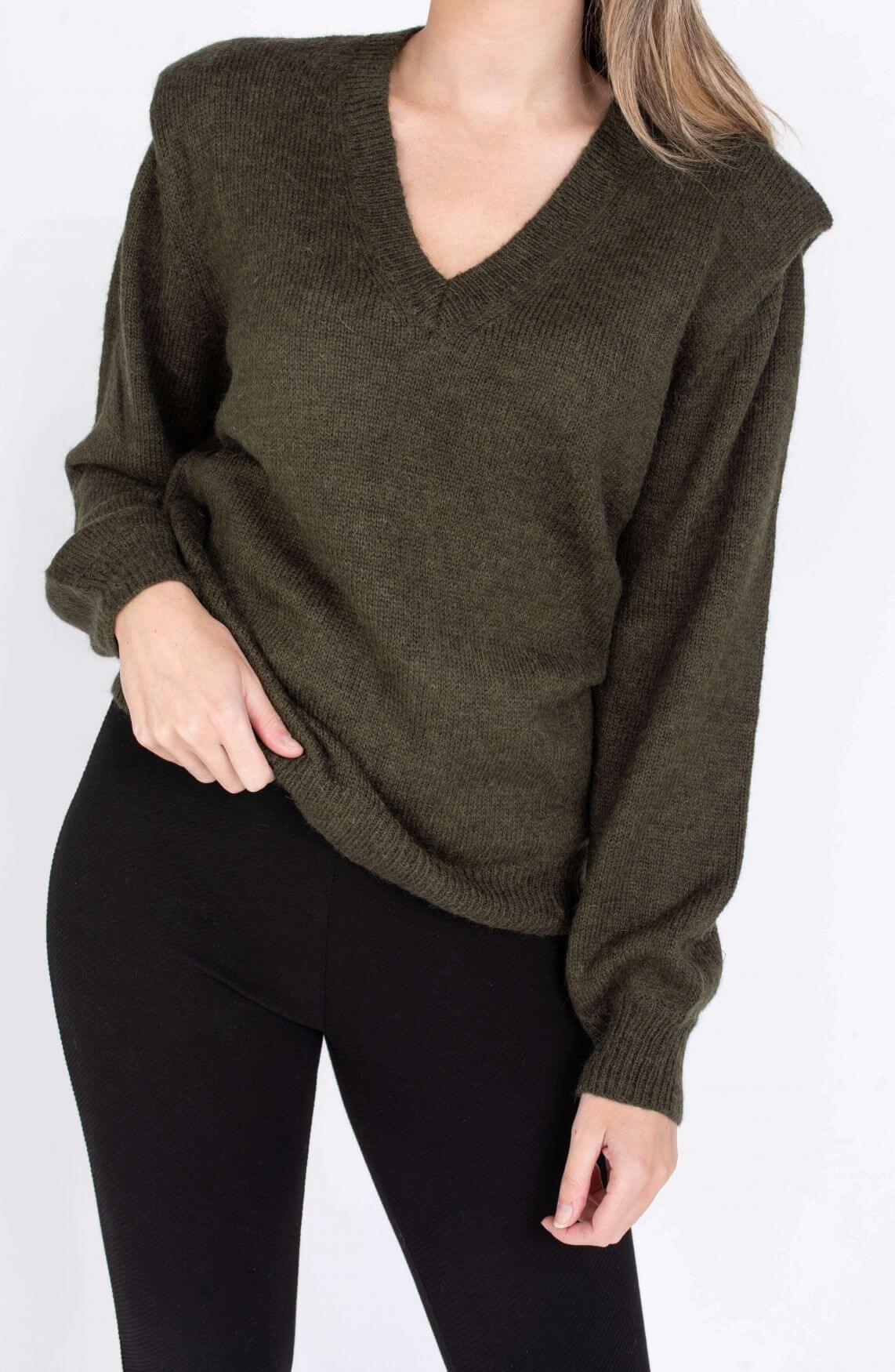 Alix The Label Dames Gebreide trui met schoudervulling Groen