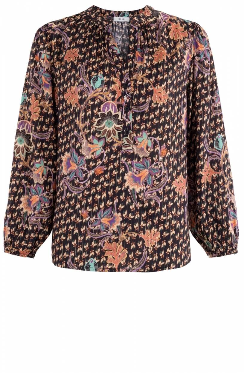 Anna Dames Floral blouse Zwart