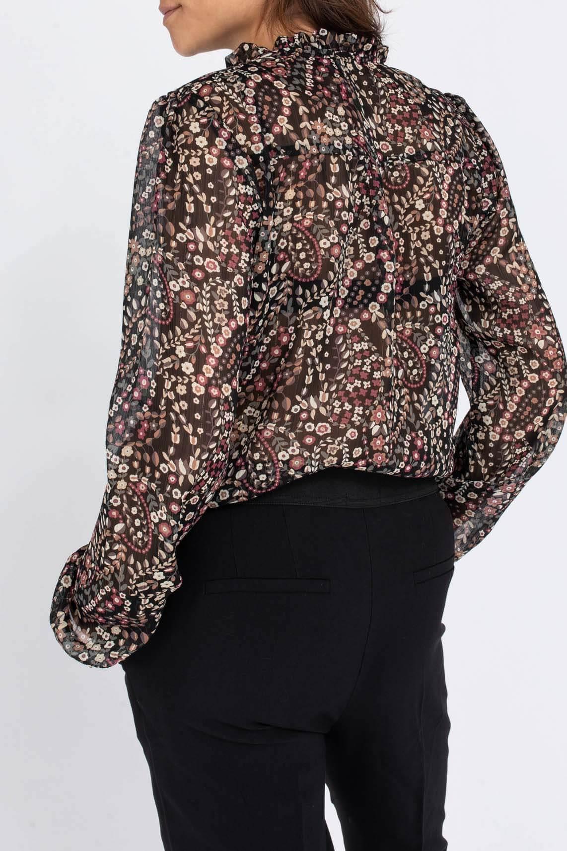 Geisha Dames Chiffon blouse Zwart
