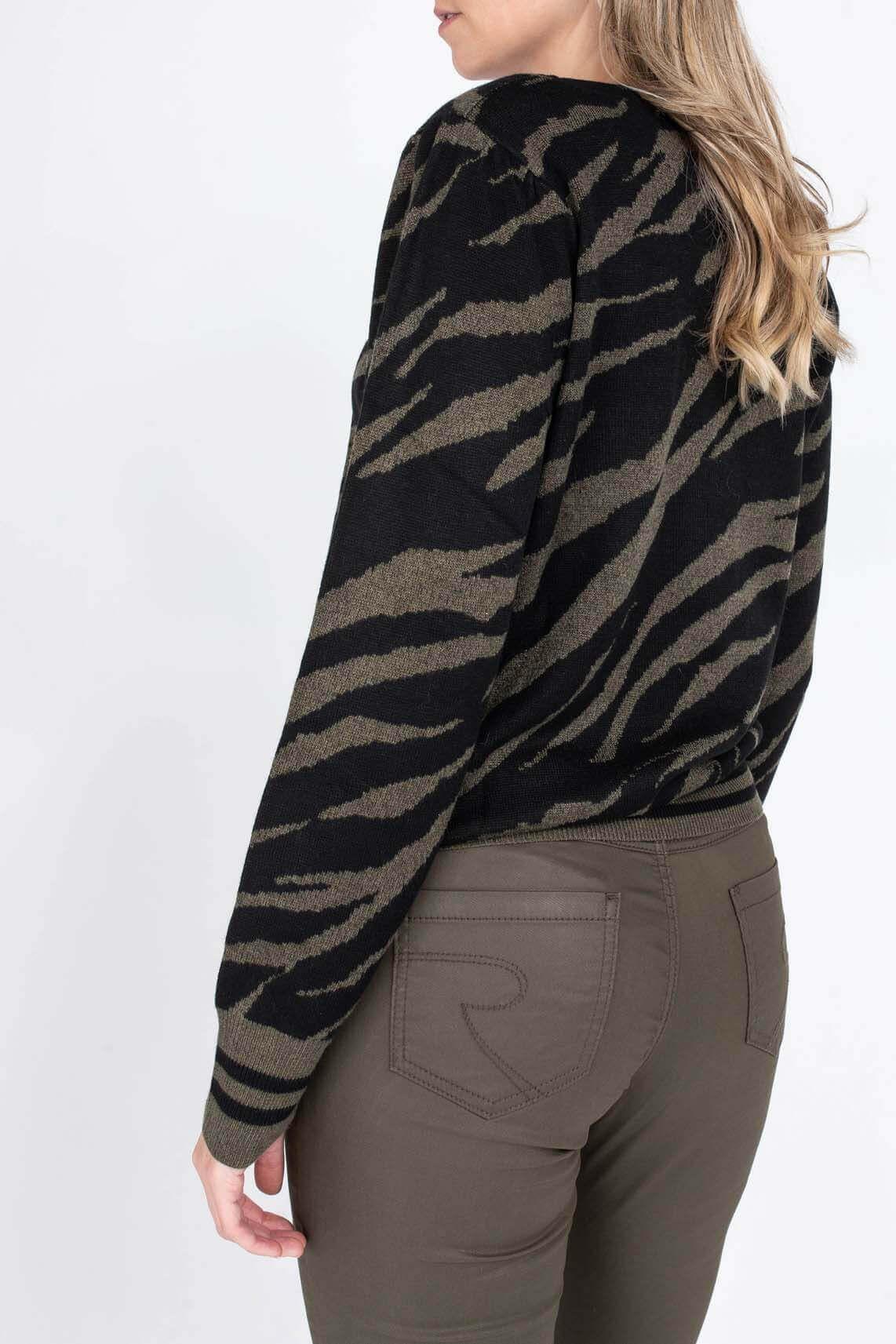 Geisha Dames Pullover met zebraprint Zwart