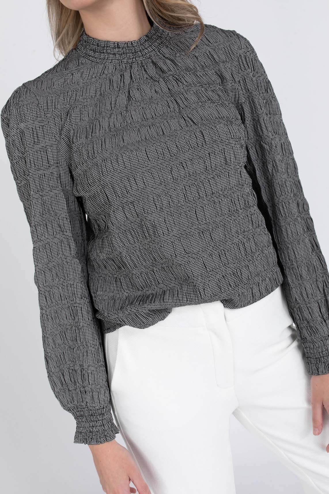Geisha Dames Pied-de-poule blouse Zwart
