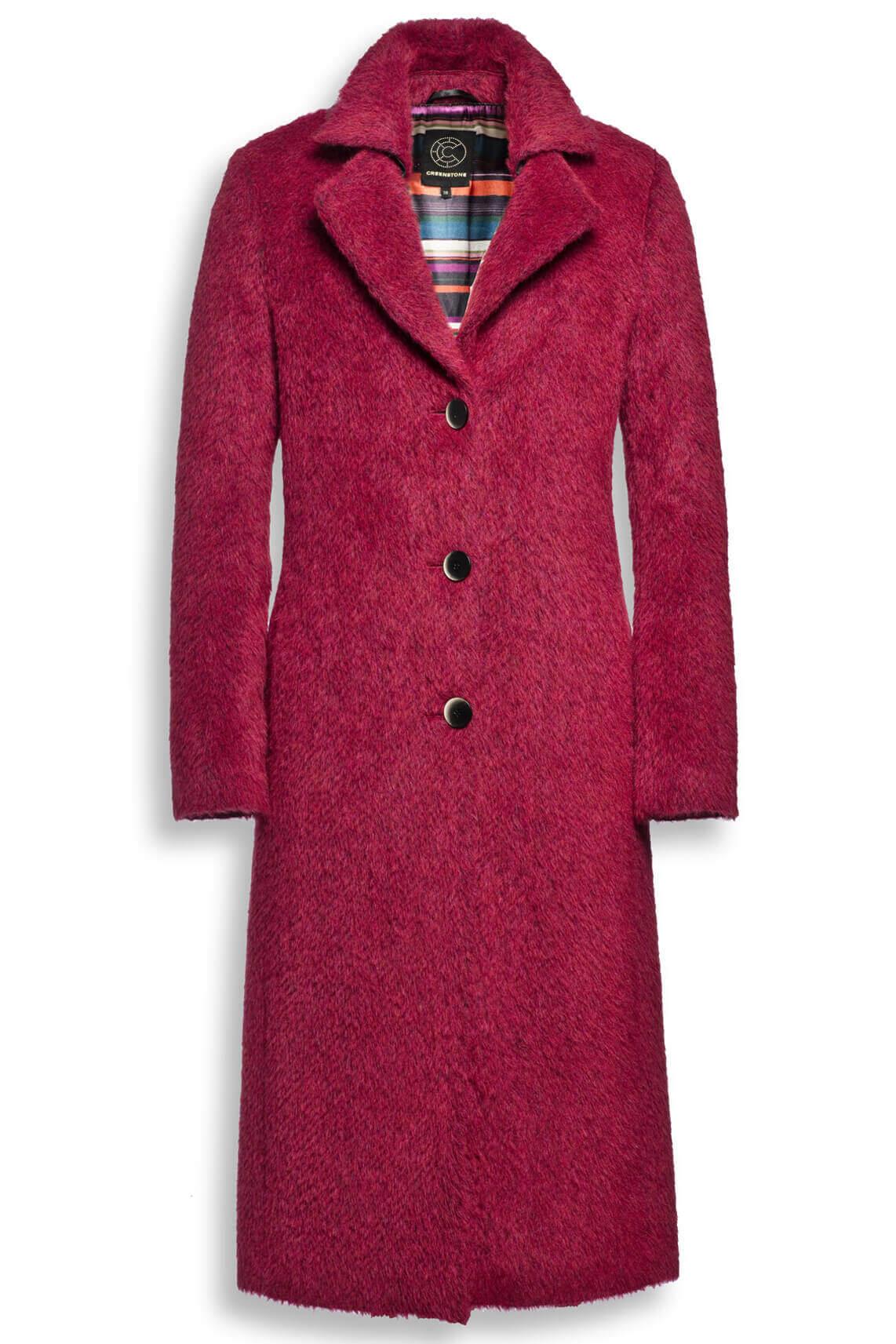 Creenstone Dames Lange wollen mantel roze
