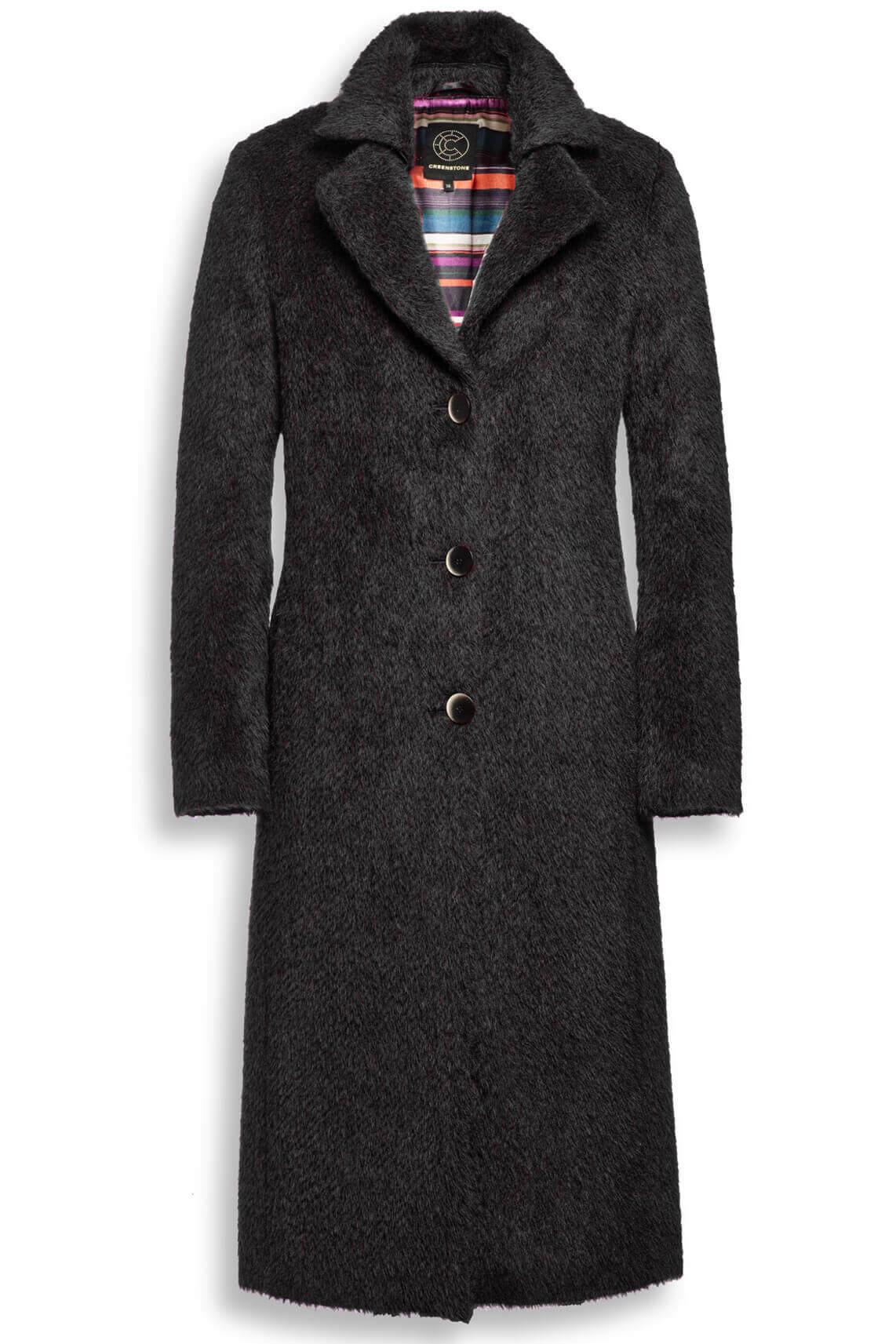 Creenstone Dames Lange wollen mantel zwart