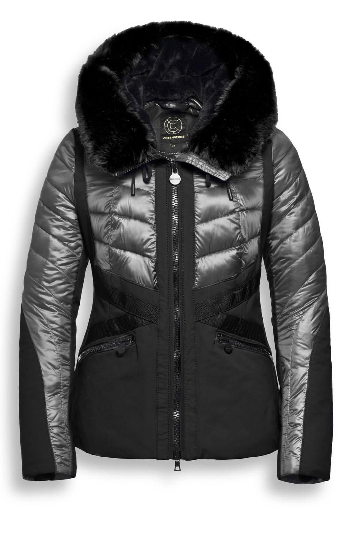 Creenstone Dames Korte gewatteerde jas zwart
