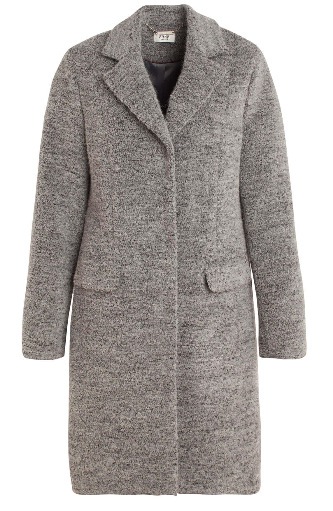 Anna Dames Wollen mantel Zilver