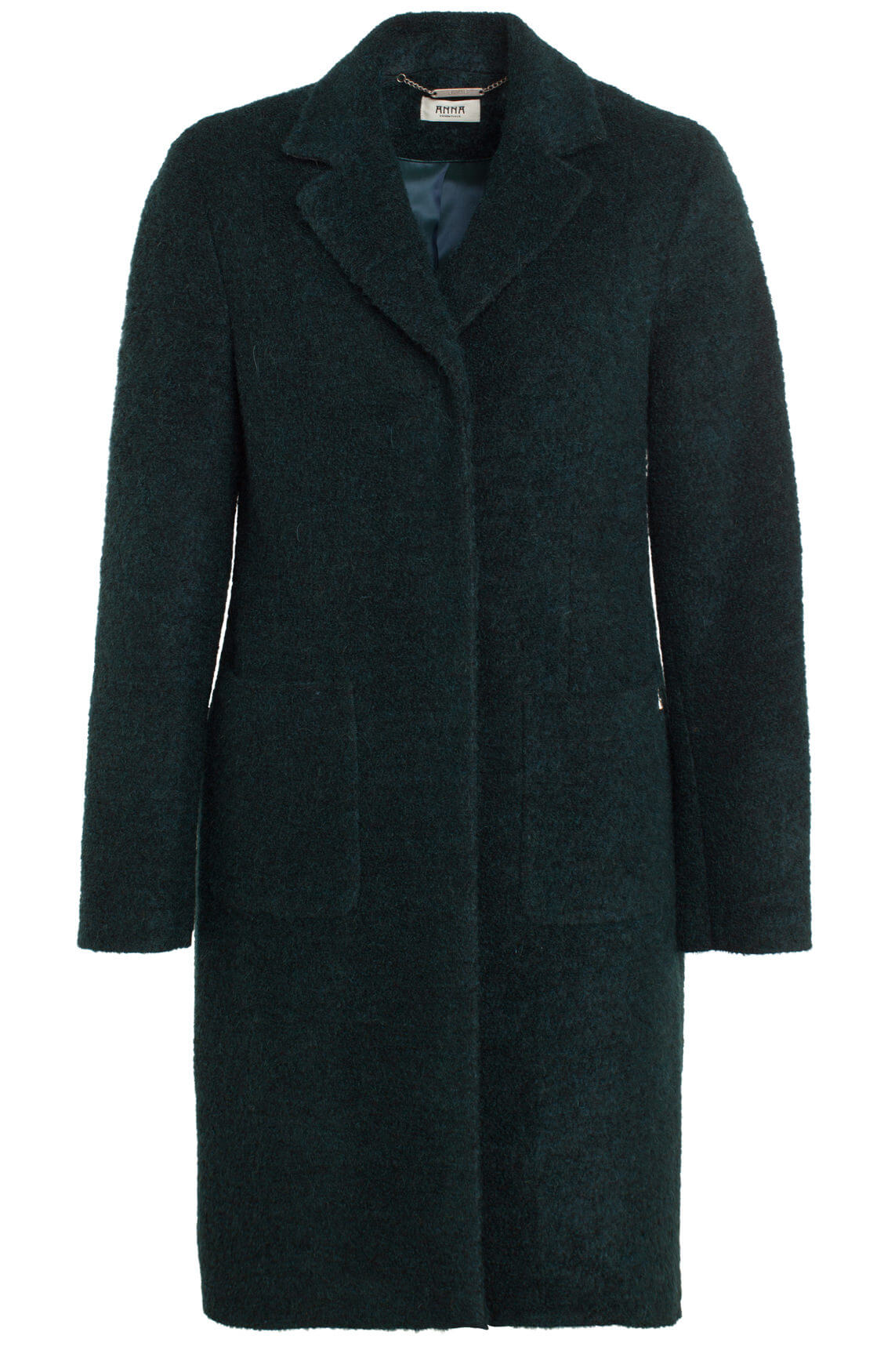 Anna Dames Bouclé mantel groen