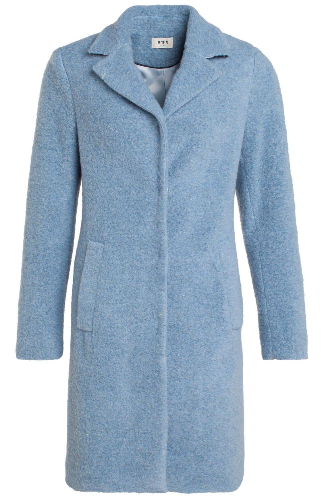 Lichtblauwe Winterjas Dames.Anna Blue Dames Wollen Mantel Blauw Jassenboutique