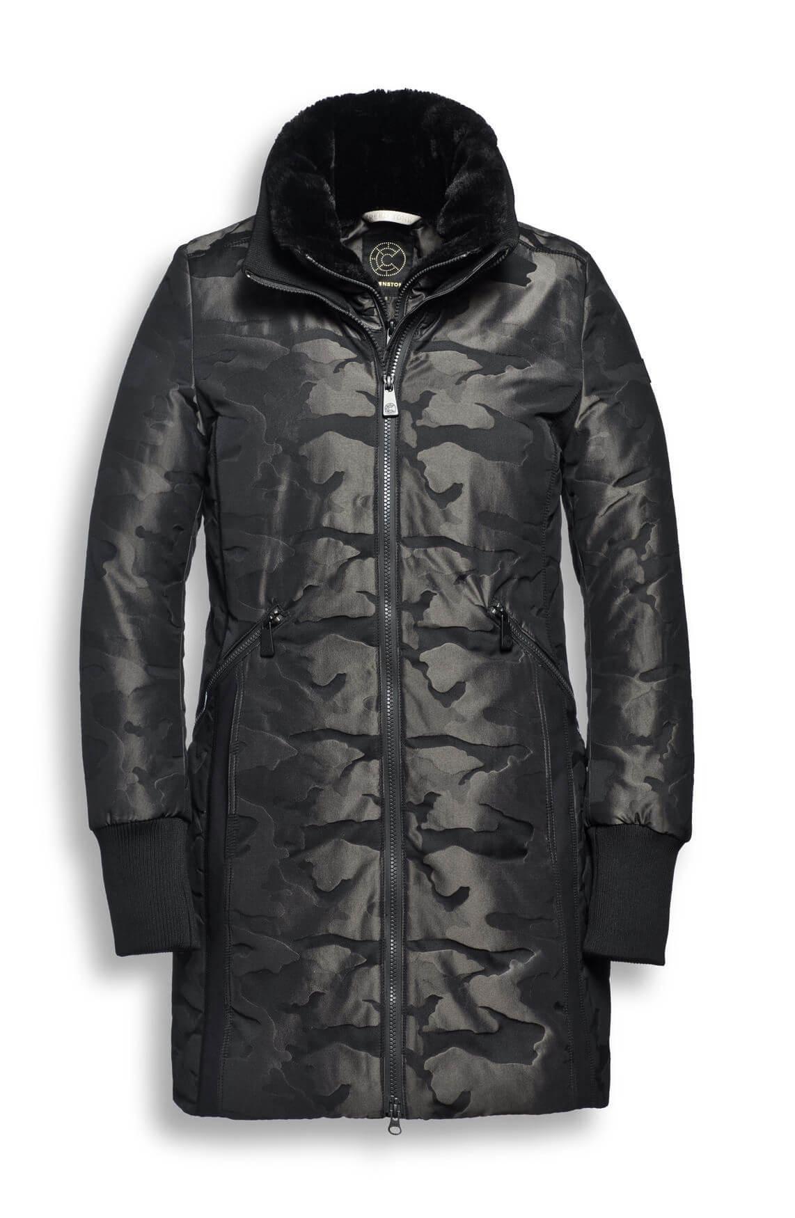 Creenstone Dames Gewatteerde jas met camouflage patroon zwart