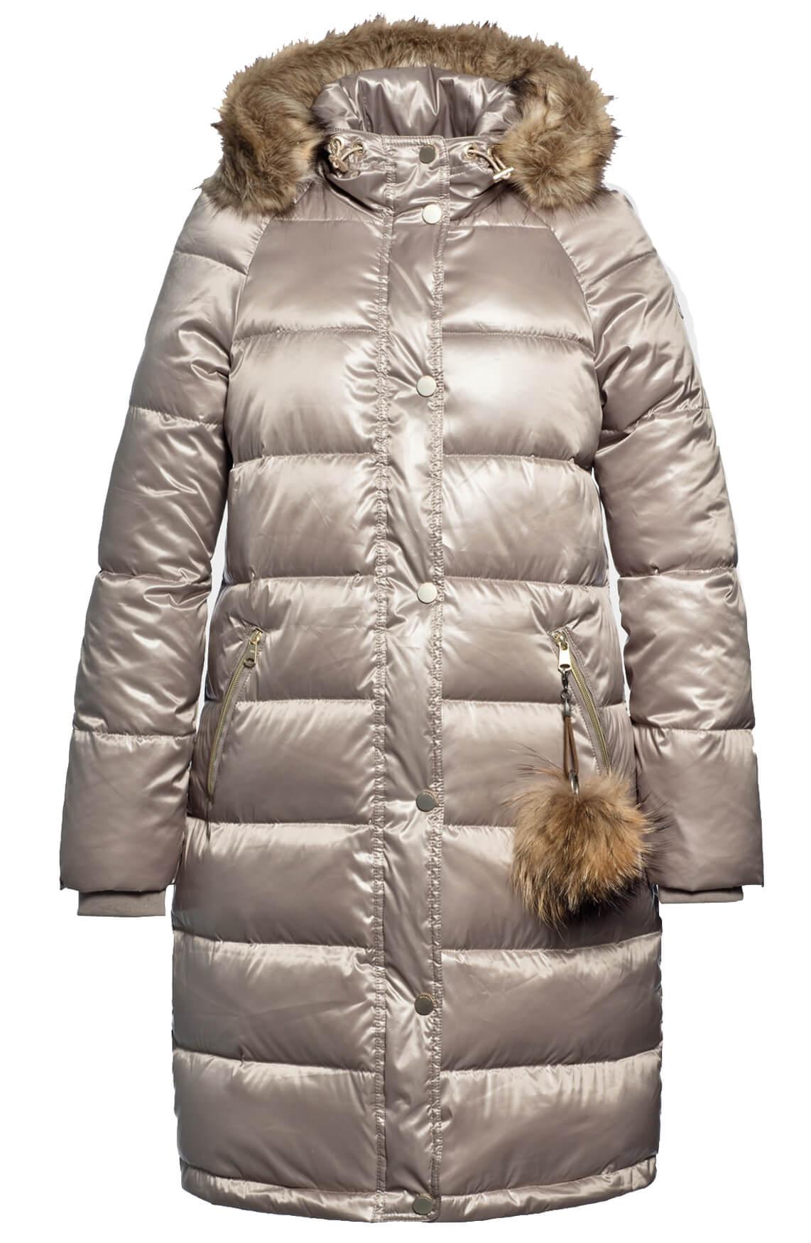 Beaumont Dames Lange windbreaker met fake fur Bruin