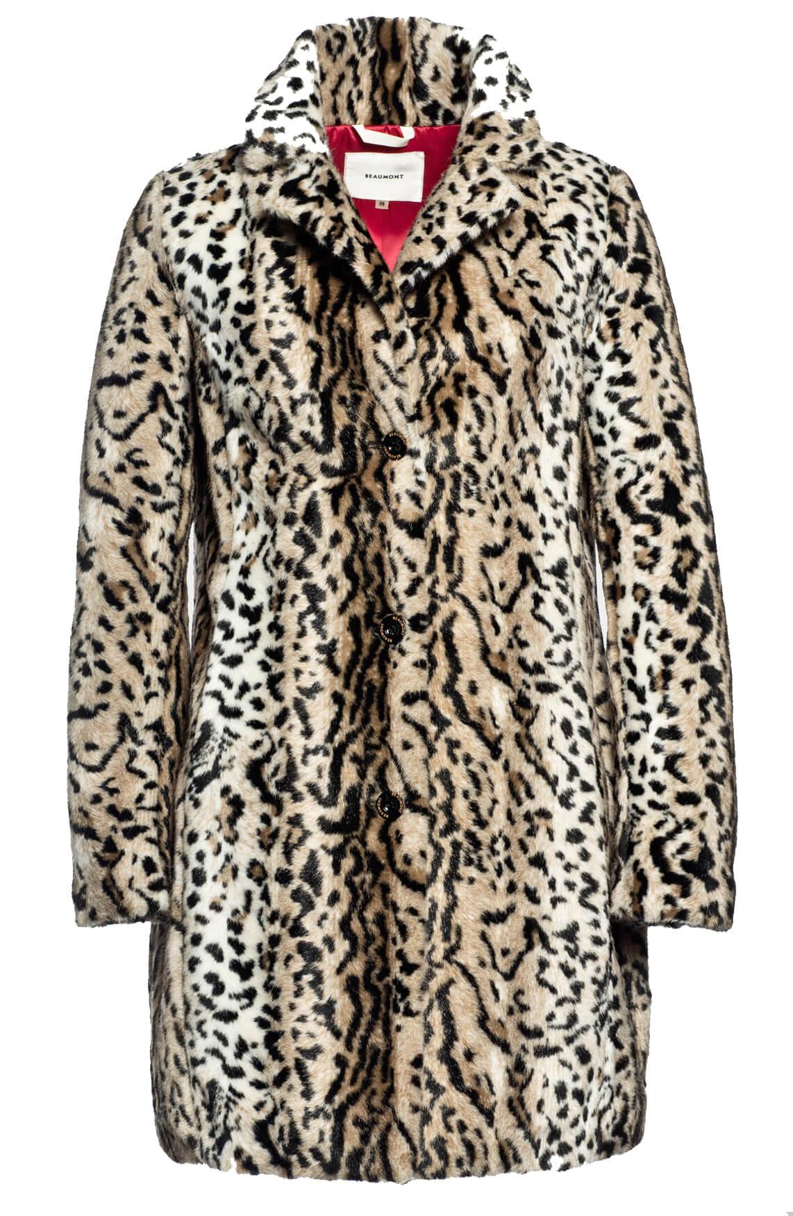 Beaumont Dames Fake fur panterprint mantel Bruin