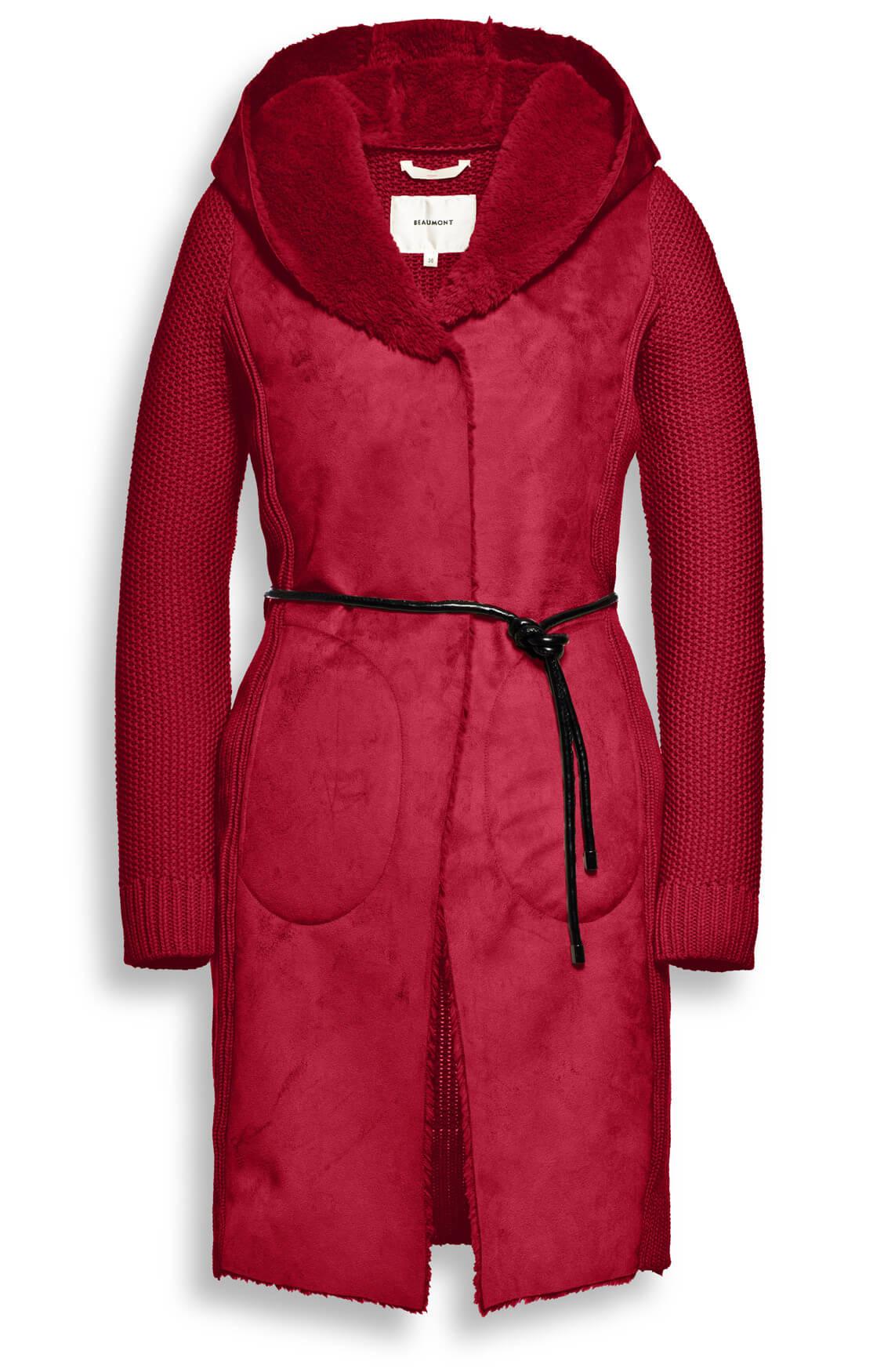 Beaumont Dames Vest met fake fur kraag Rood