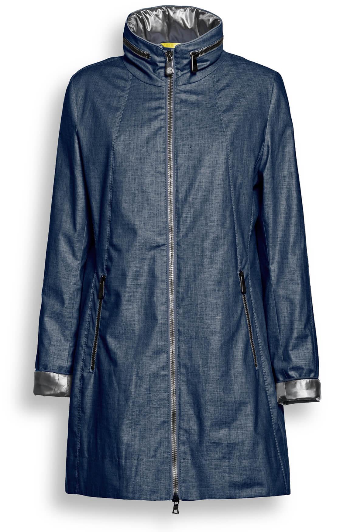 Creenstone Dames Jas met contrasterende stof Blauw
