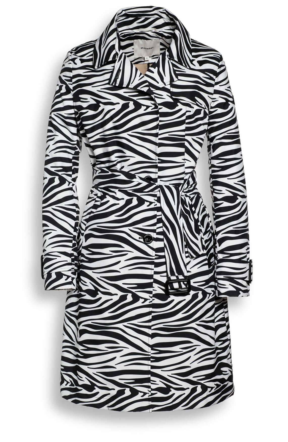 Beaumont Dames Trenchcoat met zebraprint zwart