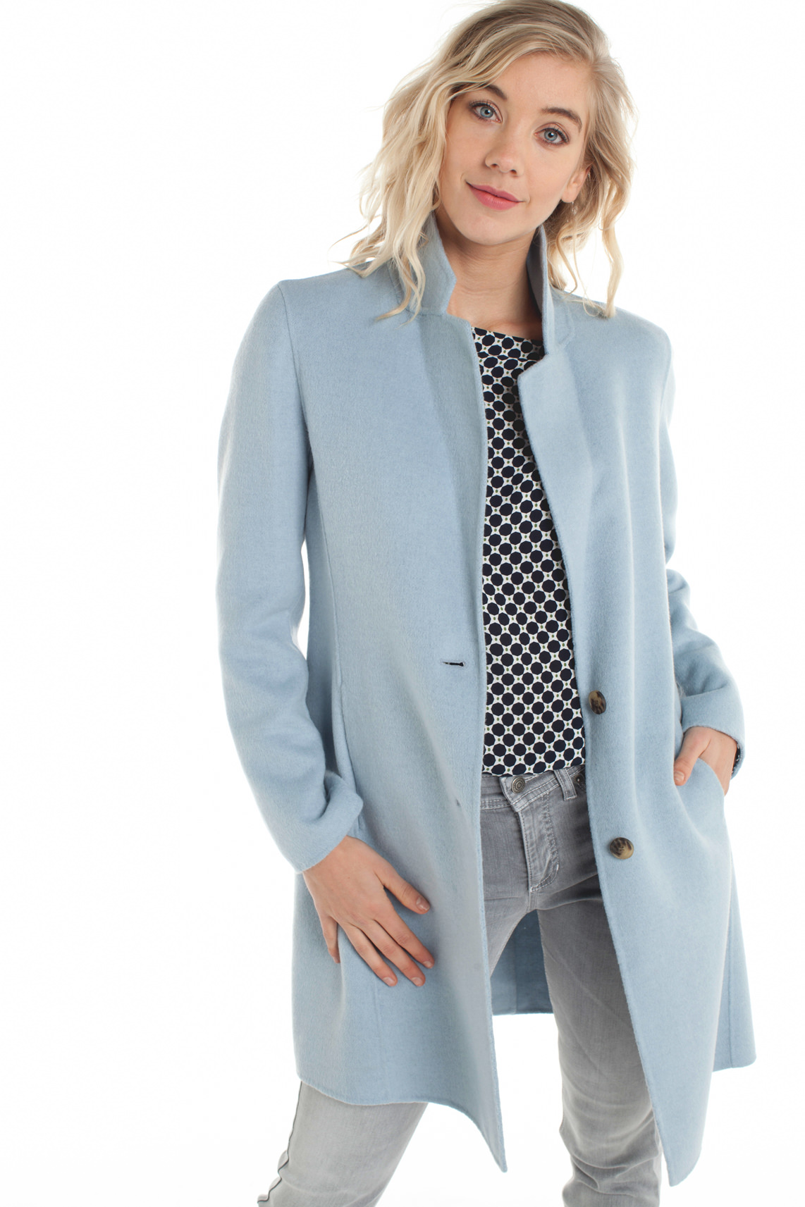 Nieuw Beaumont Dames Lange wolmix mantel Blauw | Jassenboutique SK-75