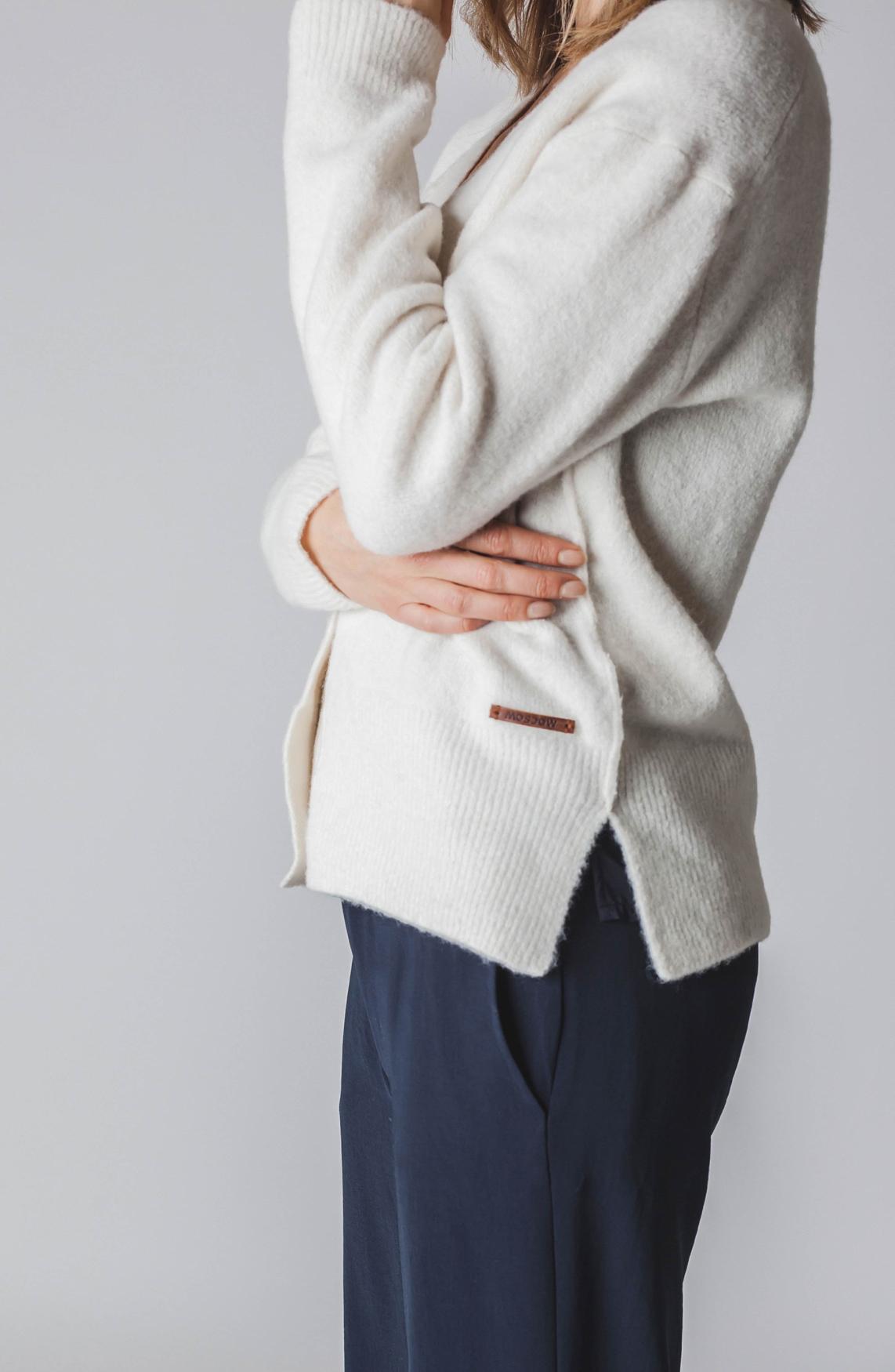 Moscow Dames Wollen vest met knopen wit