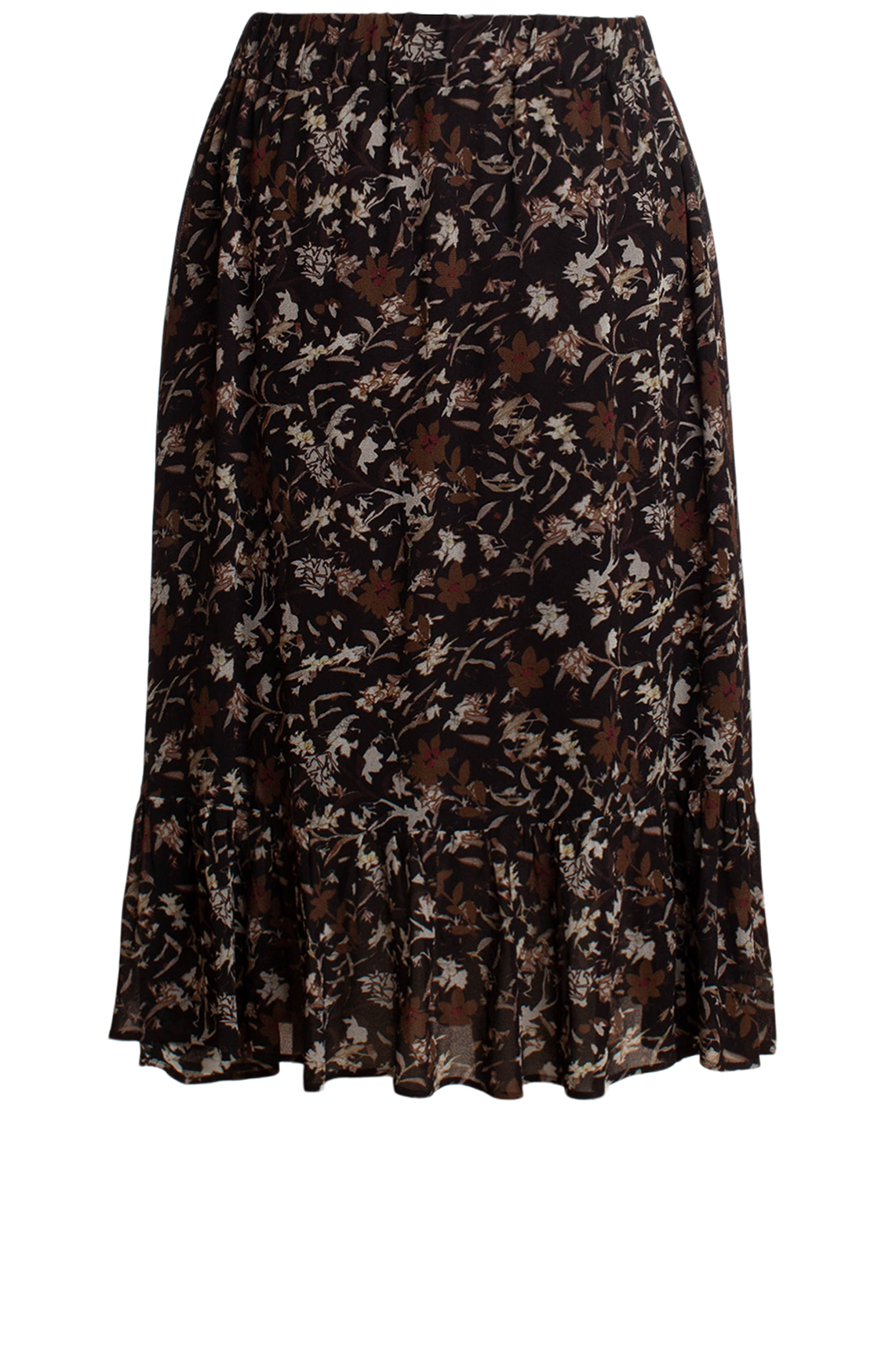 Moscow Dames Midi-Skirt with floral print Bruin