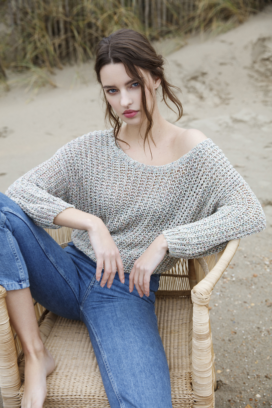 Moscow Dames Mottled colored pullover Ecru