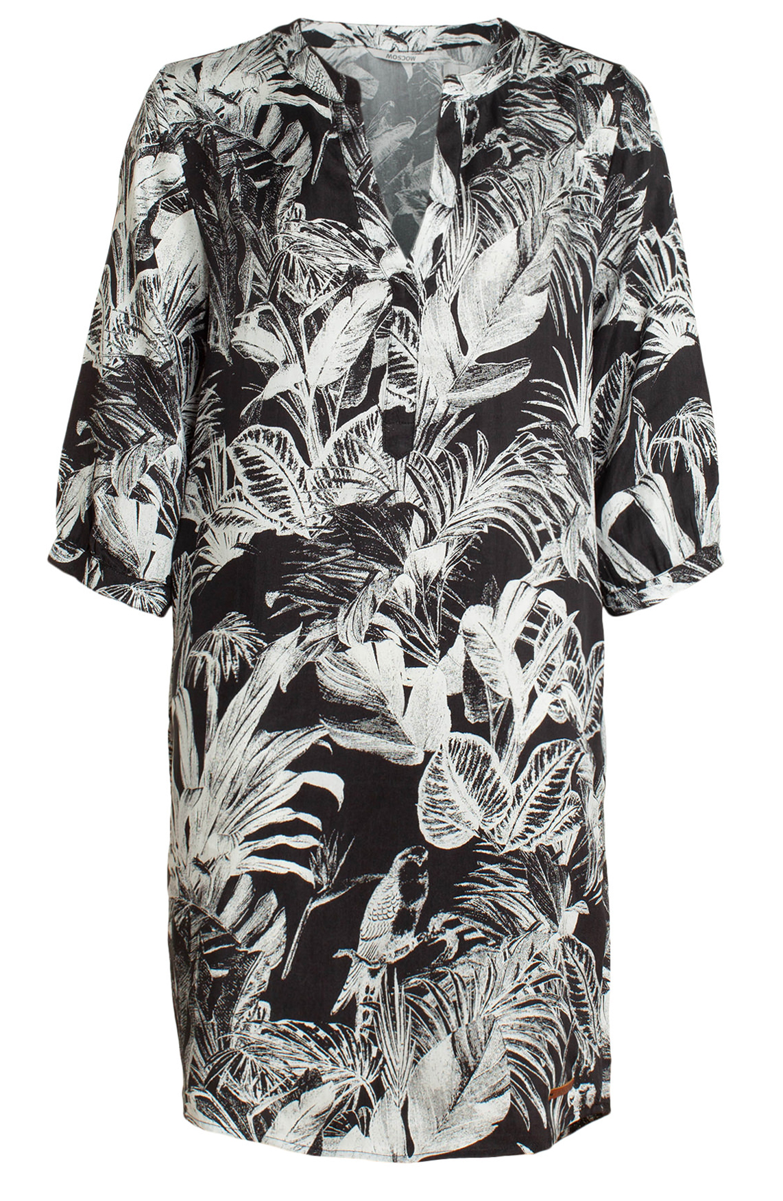 Moscow Dames Dress with leaf print Grijs