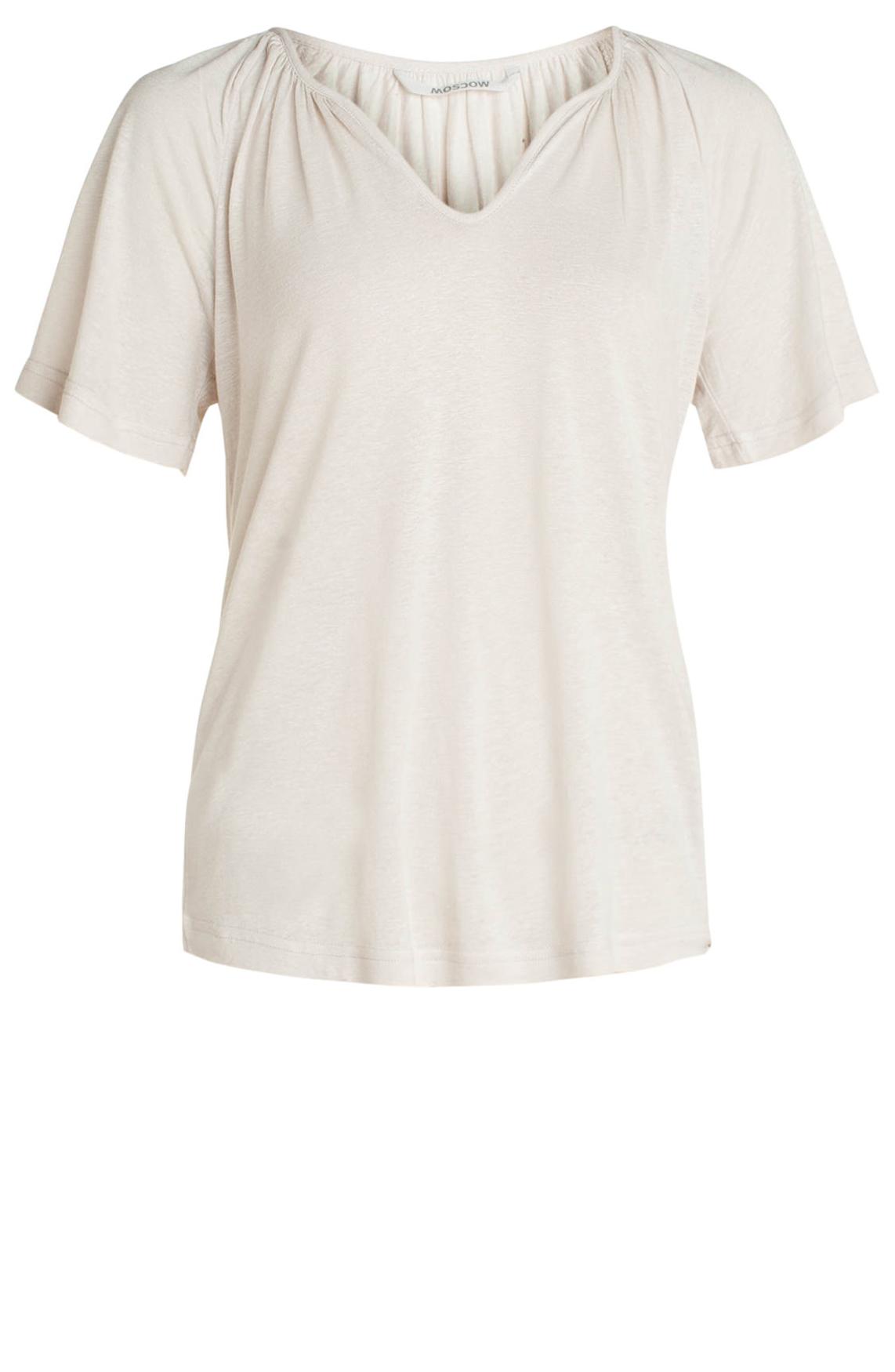 Moscow Dames Shirt with V-neck Ecru