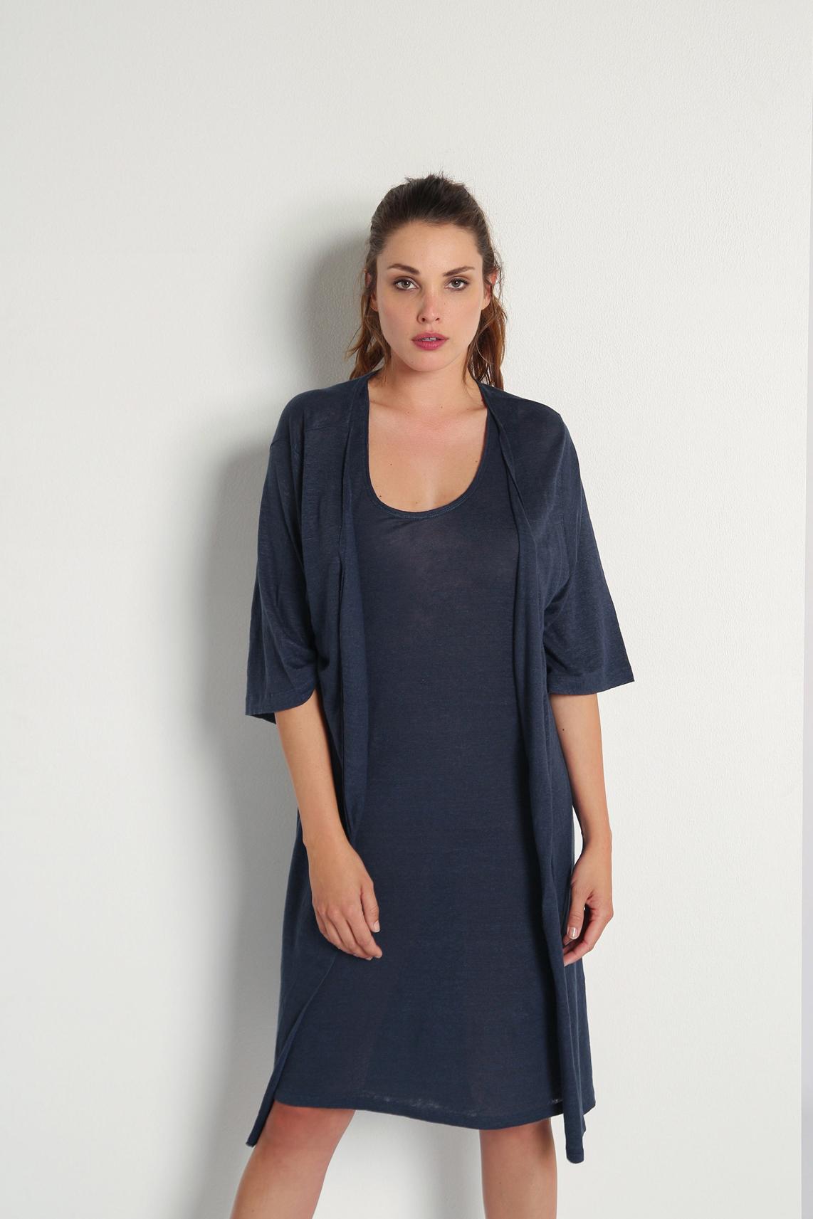 Moscow Dames Linnen singlet jurk Blauw